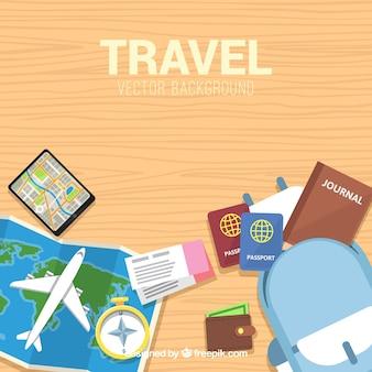 Плоский дизайн современного фона путешествия