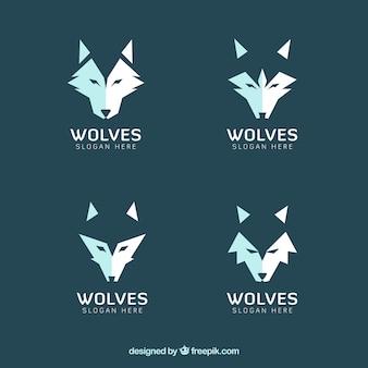 モダンオオカミのロゴのセット