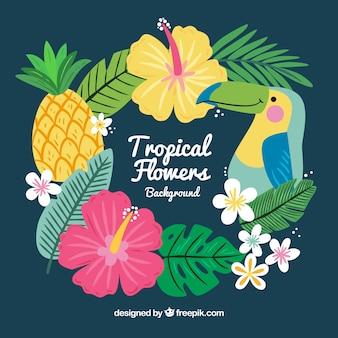 熱帯の葉を描く手のかなりの背景