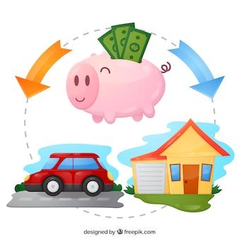 Копилка с сбережениями для автомобиля и дома