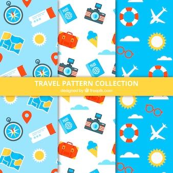 カラフルなオブジェクトで旅行パターンのパック