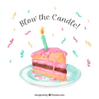 Акварельный торт штучный фон с сообщением «дуть свечу»