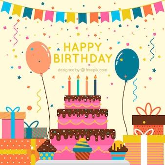 ビンテージケーキの背景と誕生日の装飾