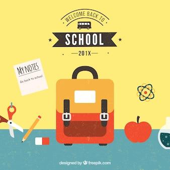 Назад к школьному дизайну с сумкой