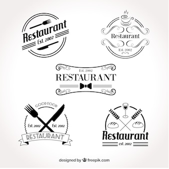 レトロなレストランのロゴのセット