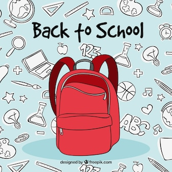 赤いバックパックを持つ学校のコンセプトに戻って