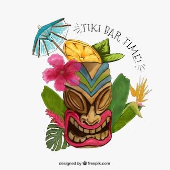 Тики маска фон с цветами и акварель листья