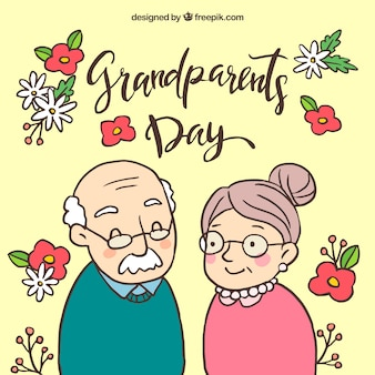 手の背景祖父母と花を描いた