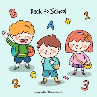 Назад к школьному дизайну с милыми школьниками