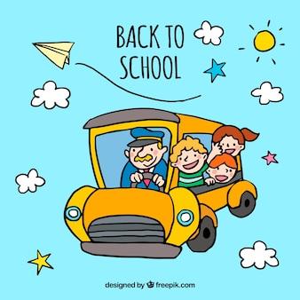 黄色の学校バスで学校のコンセプトに戻って