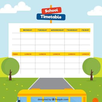 学校の時刻表ランドスケープテンプレート