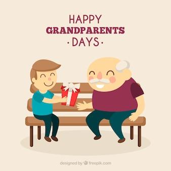 彼の祖父のための贈り物と孫の背景