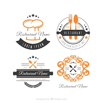 レトロなレストランのロゴの古典的なコレクション