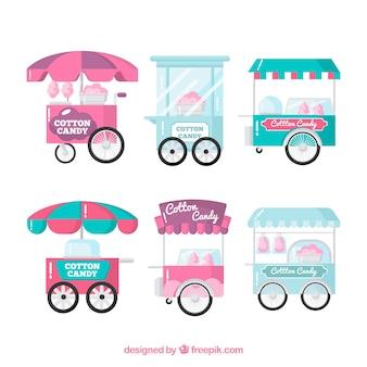 Набор вафельных конфет в плоском дизайне