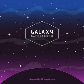 紫色の光と星のある暗い惑星の背景