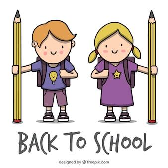 バックパックと鉛筆を持つ子供たちの背景