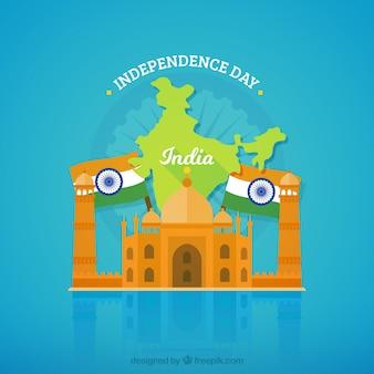 タジマハルと旗を持つインドの独立の背景
