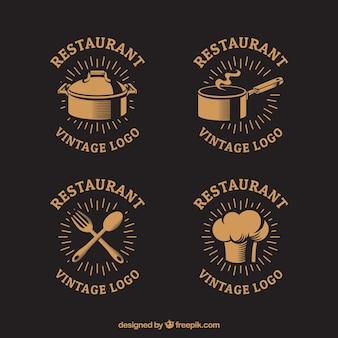 Винтажные логотипы ресторана с классическим стилем
