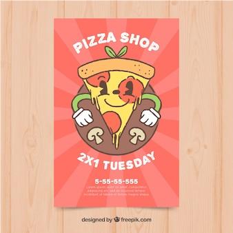 Хороший ручной рисунок пиццы кусок флаера