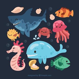 Прохладный набор смайлик морских животных