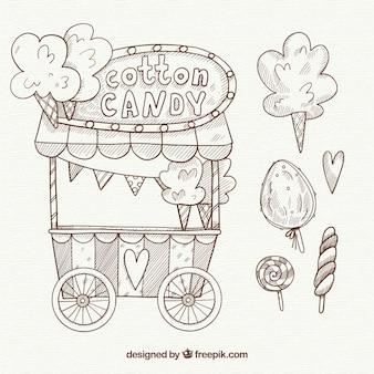 手描きの綿菓子カートと棒付きキャンディー