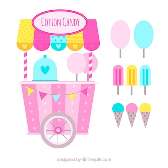 カラフルなコットンキャンディカートとアイスクリーム