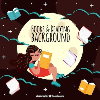 月に読んでいる女の子のヴィンテージの背景
