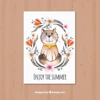 猫とかなりの水彩カード