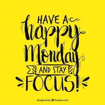 幸せな月曜日、黄色の背景