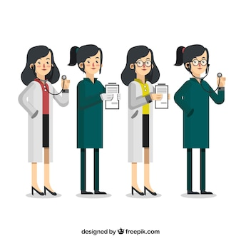 クリップボードと聴診器で女性医師のコレクション