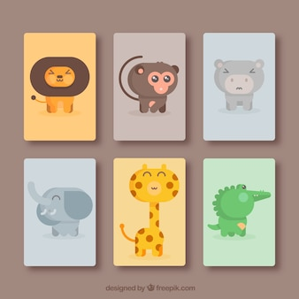 楽しい動物のカードのパック