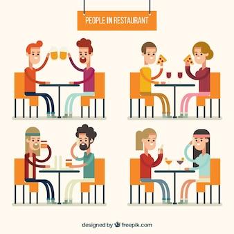レストラン内の様々な友達
