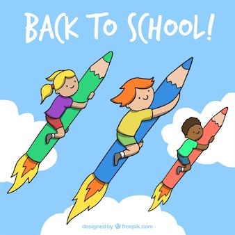 鉛筆のロケットに手を引いた子供たち