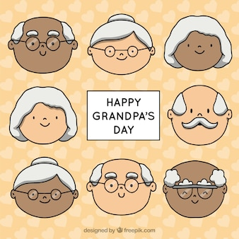 祖父母を祝う手描きのおじいちゃん