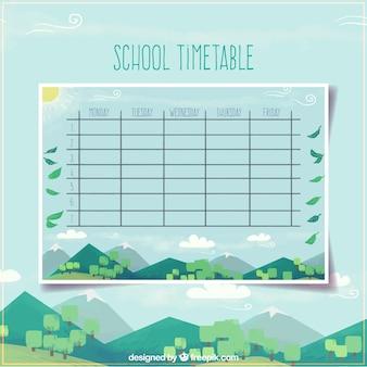 Шаблон школьного расписания с современным ландшафтным дизайном