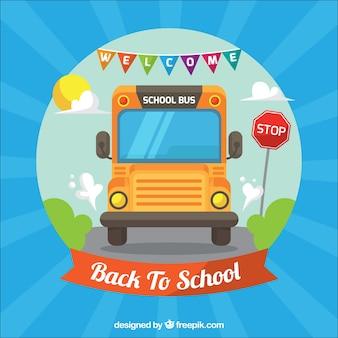 平らなデザインの道路上のスクールバス
