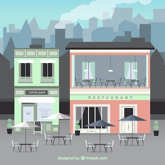 屋外ビルカフェ