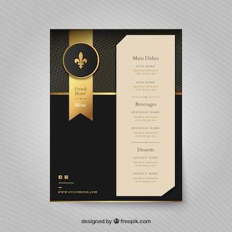 Золотой шаблон меню с печатью