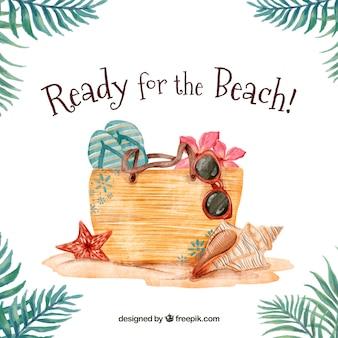 水彩ビーチ要素を持つバッグの背景