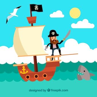 フラットデザインの海賊セーリングと風景の背景