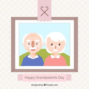 フラットデザインの祖父母像
