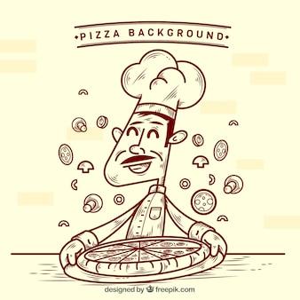 ピザのスケッチの背景を持つシェフ