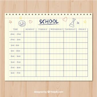 Шаблон расписания школьного стиля в стиле бумаги