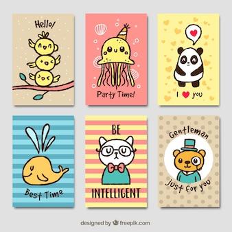 美しい手描きの動物のグリーティングカードのパック