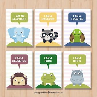 動物の話をするカードの楽しいコレクション