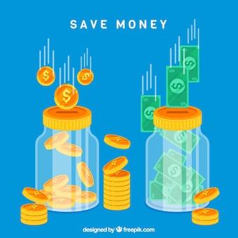 青いガラスの瓶の背景コインと紙幣