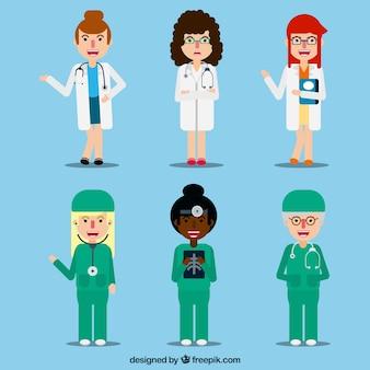 楽しい女性医師のカラフルなセット