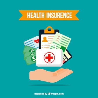 健康保険の要素と手で構成