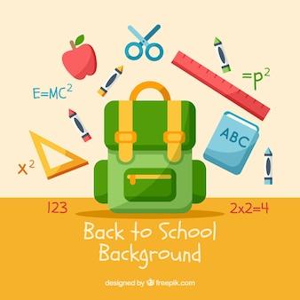 平らなデザインのバックパックと学校のオブジェクト