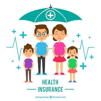 傘を持つ幸せな家族